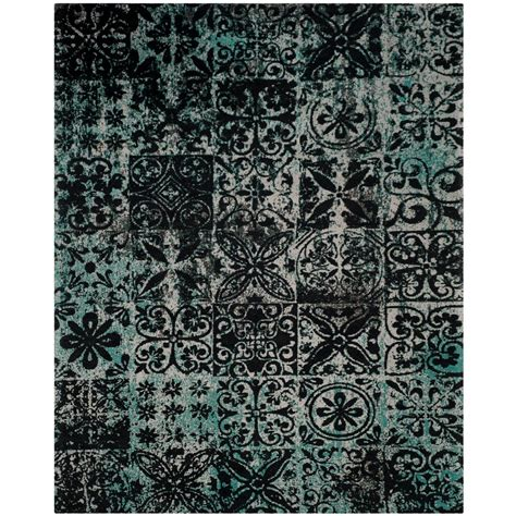 black teal rug safavieh classic vintage teal black 8 ft x 10 ft area rug clv221a 8 the home depot