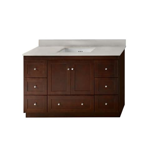 Ronbow Shaker Vanity by Ronbow Shaker 48 In W Vanity In Cherry With Quartz