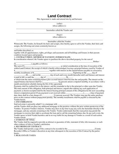 Simple Land Contract Land Contract Template