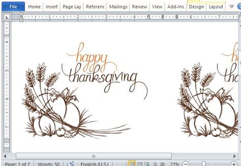 Best Thanksgiving Templates For Microsoft Word Thanksgiving Card Template Free