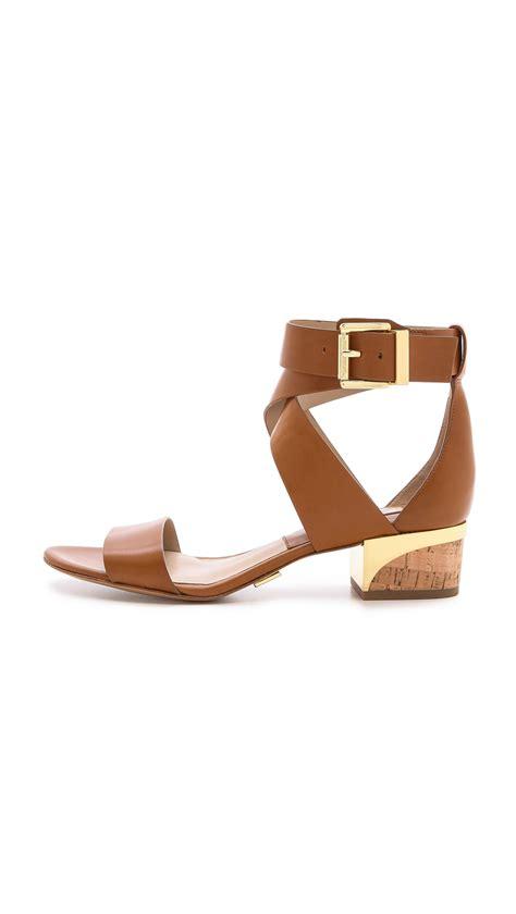 michael kors heel sandals michael kors tulia block heel sandals in brown luggage