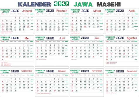 kalender  jawa lengkap bulan hari pasaran  wuku hari