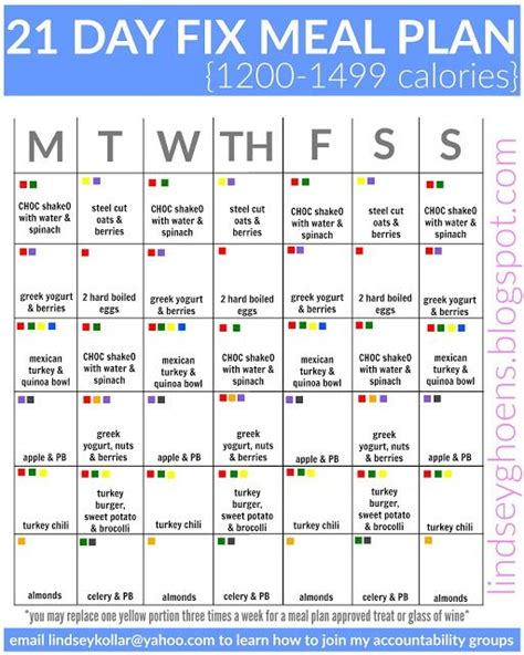 printable meal plan for 21 day fix 21 day fix meal plans 21 day fix pinterest meals 21