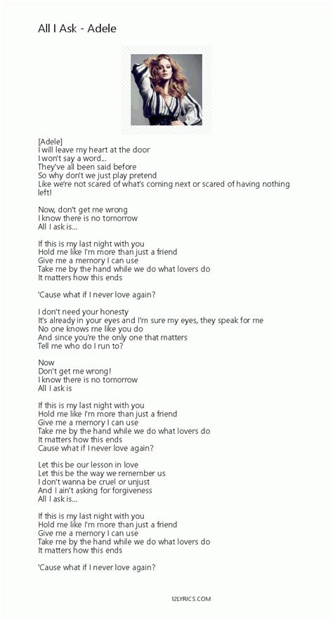 all i ask adele all i ask lyrics pdf 12lyrics