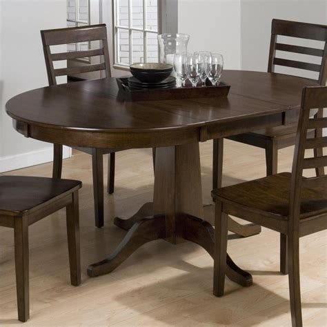jofran round to oval dining table in taylor cherry 342