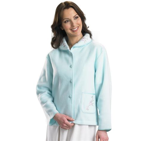bed jackets slenderella ladies polar fleece button up bed jacket