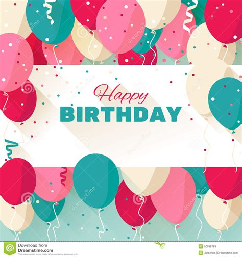 happy birthday flat design happy birthday greeting card in a flat style stock