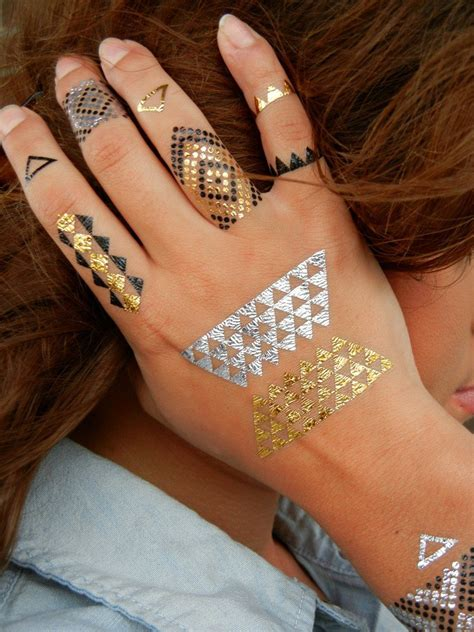 metallic tattoos geometric tattoos geometric jewelry tattoos gold