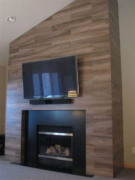 ceramic wood grain tiles  fireplace surround faux
