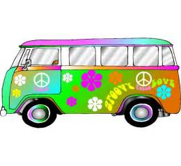 Hippie retro vw bus photo op