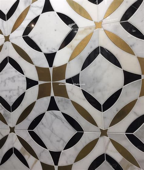 Water Jet Marble Floor Tile With Brass Inlay Mosaic