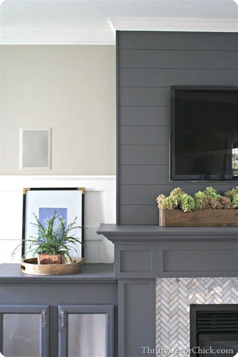 $13 planked wall (Finished fireplace!) from Thrifty Decor