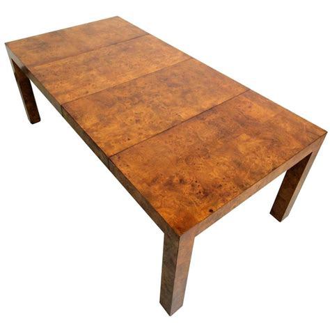 Wood Parsons Dining Table Beautiful Mid Century Milo Baughman Parsons Style Burl Wood Dining Table At 1stdibs