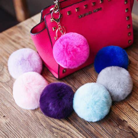 Keychain Pom Pom Real Rabbit Hair Bulb Bag Fur 2016 new real rex rabbit fur keychains fur keychain fur pom pom key chain fur key ring for