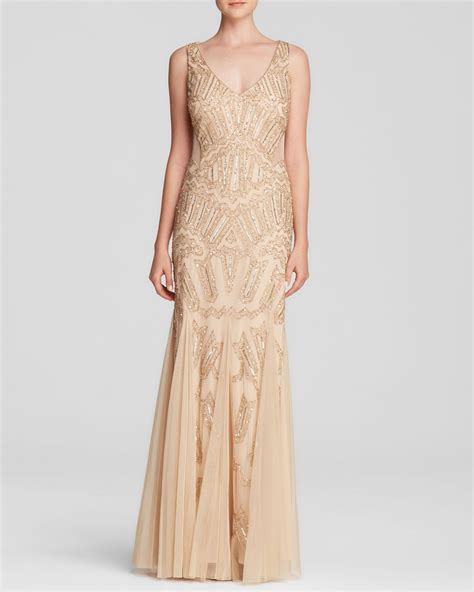 gold beaded dress papell gown v neck beaded illusion panel