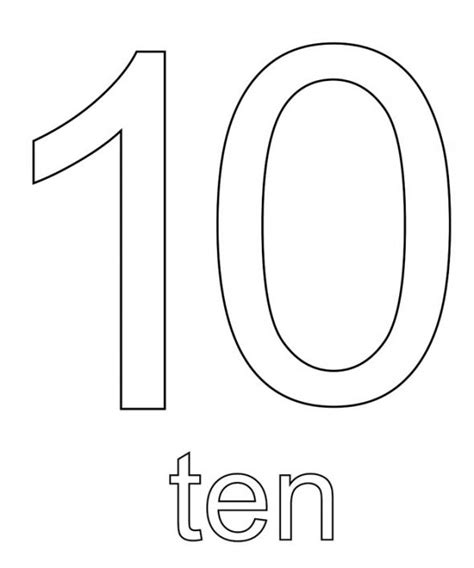 Number 10 Coloring Page free count and trace number1 coloring pages