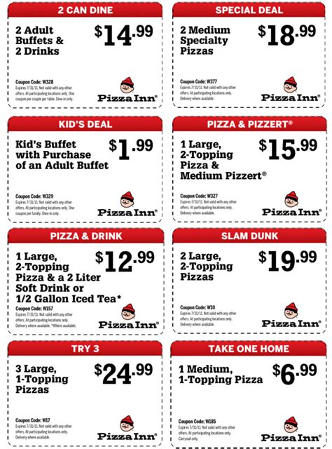 pizza inn 8 printable coupons