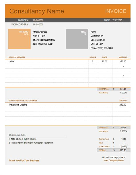 Templates For Invoices consultant invoice template for excel