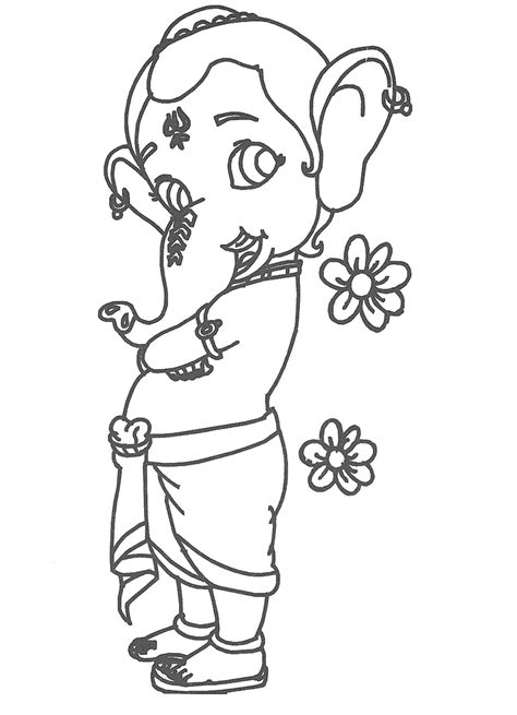 ganpati images to draw coloring pages