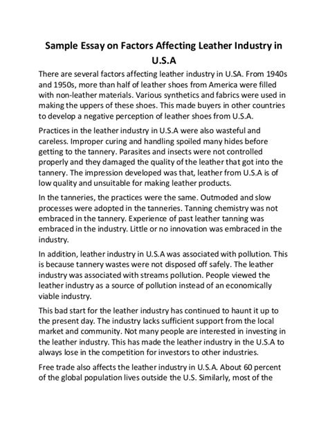 Industry Essay by Sle Essay On Factors Affecting Leather Industry In U S A