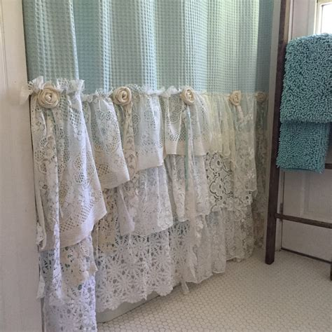 shabby chic bathroom curtains shabby cottage chic shower curtain grey lace ruffle