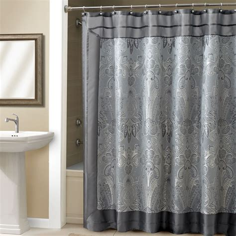 steel grey curtains sleek corner shower room design featuring turquoise flower