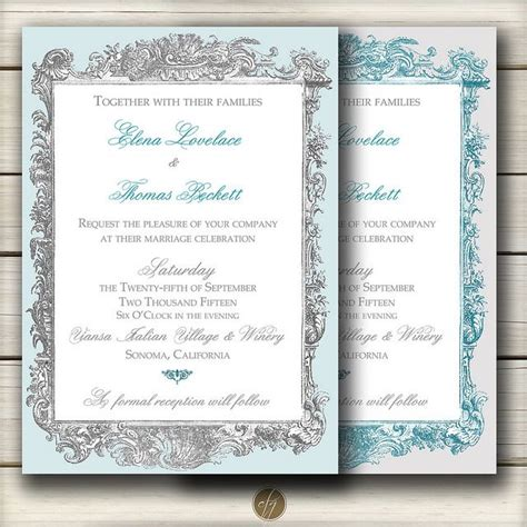Teal And Gray Wedding Invitations