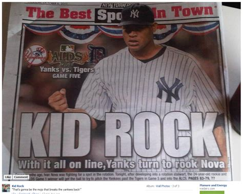 new york post sports section new york post uses kid rock as the title of today s