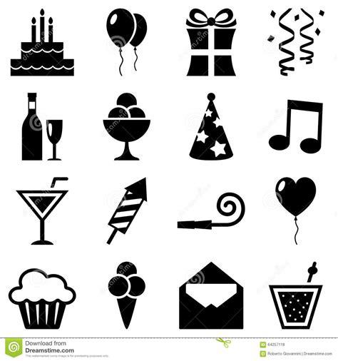 imagenes para cumpleaños blanco y negro colecci 243 n blanco y negro de los iconos del cumplea 241 os