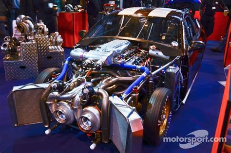 Twin Turbo Mustang dragcar at Autosport International Show