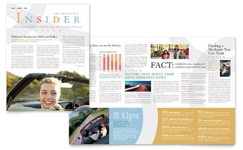 Insurance Newsletter Car Insurance Company Newsletter Template Design