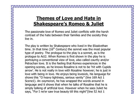 romeo and juliet themes love vs hate romeo and juliet love or hate gcse english marked by