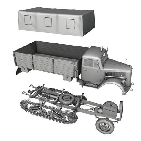 opel blitz maultier opel blitz maultier half truck cargo truck 3d model