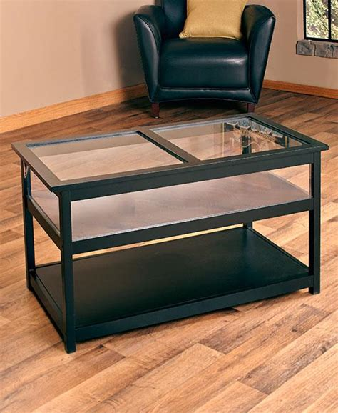 new black glass top display end table or coffee table