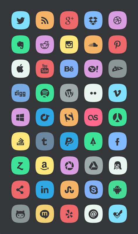 subtle social media icons graphicburger