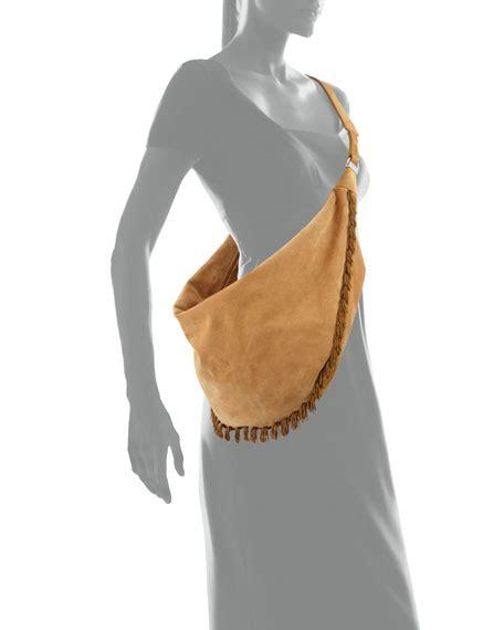 Kate Olsens Prada Napa Fringe Hobo by The Row Sling 15 Fringe Trim Suede Hobo Bag Sand