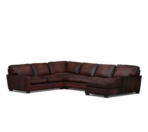 turner leather sectional turner square arm leather 4 piece chaise sectional
