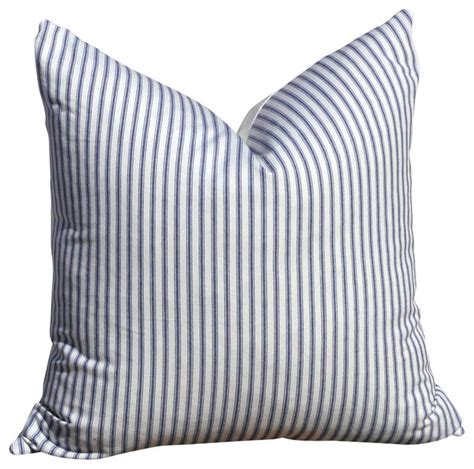 striped cotton throw pillow blue and white style