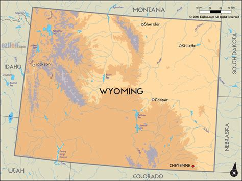 physical map of wyoming geographical map of wyoming and wyomingn geographical maps