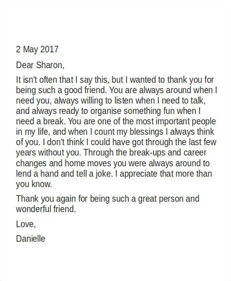 appreciation letter to friend 45 thank you letter exle templates free premium