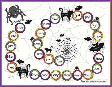 printable sight word board games halloween themed game boards make take teach