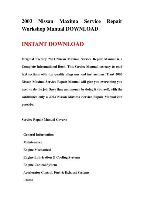 manual repair autos 2003 nissan maxima head up display 2003 nissan maxima service repair workshop manual download by jjshnfse issuu