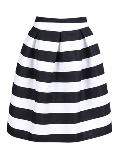 black and white line skirt black and white stripe high waist a line skirt choies