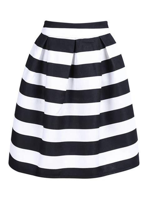 black and white stripe high waist a line skirt choies