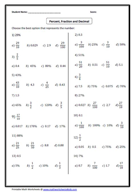 Convert Decimals To Fractions Worksheet by Convert Between Fraction Decimal And Percent Worksheets