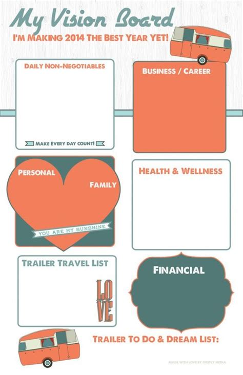 vision board templates free orange vintage trailer visionboard buy yours here http