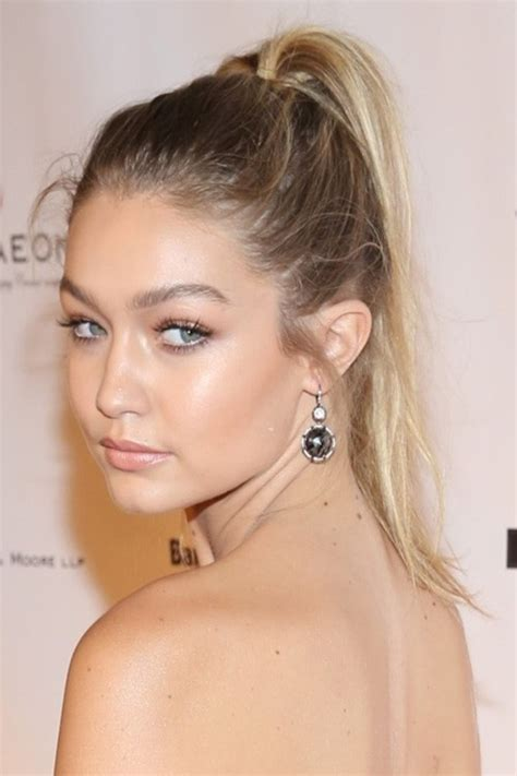 gigi hadid hairstyles gigi hadid straight medium brown high ponytail ombr 233