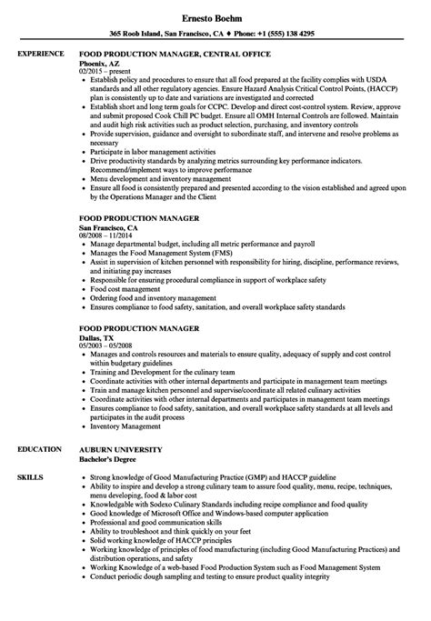 Food Production Manager Sle Resume food production manager resume sles velvet