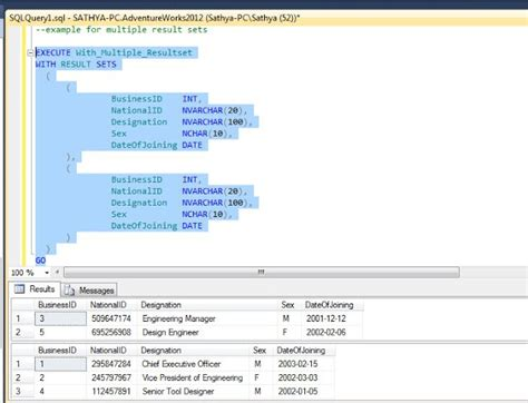 insert into temp table from stored procedure all about sqlserver sql server 2012 with result sets