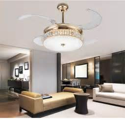 Modern luxury led lights crystal fan light with remote control